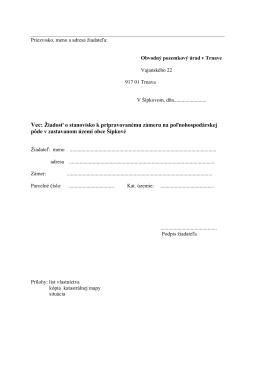 Vec: Žiadosť o stanovisko k pripravovanému zámeru na