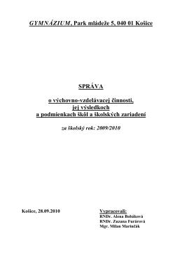 GYMNÁZIUM, Park mládeže 5, 040 01 Košice