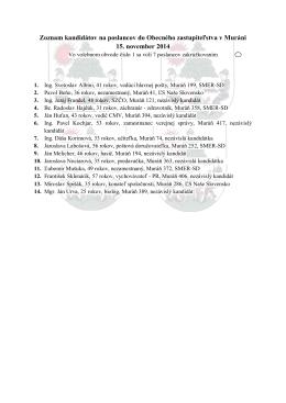 Zoznam kandidátov na poslancov do Obecného zastupiteľstva v