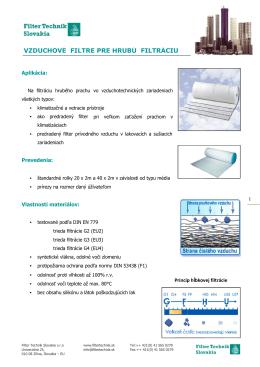 vzduchové filtre e pre hrubú filtráciu