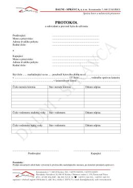 Protokol o odovzdaní bytu