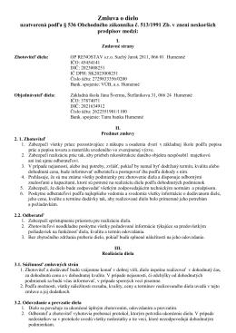 Zmluva o dielo - Základná škola Jána Švermu
