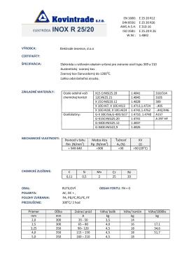 EVB ELEKTRÓDA INOX R 25/20 Ťažko zvariteľné materiály: