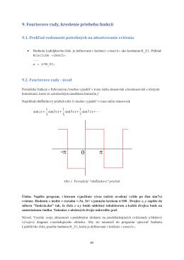 9. Fourierove rady, kreslenie priebehu funkcií