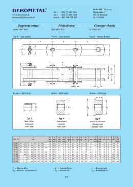 Dopravné reťaze podľa DIN 8165 typ B - bez kladiek