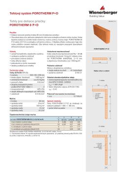 Produktový list POROTHERM 8 P+D