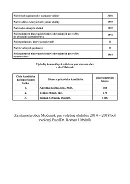 Za starostu obce Močenok pre volebné obdobie 2014 – 2018 bol
