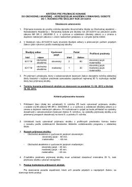 kritériá pre prijímacie konanie do obchodnej akadémie