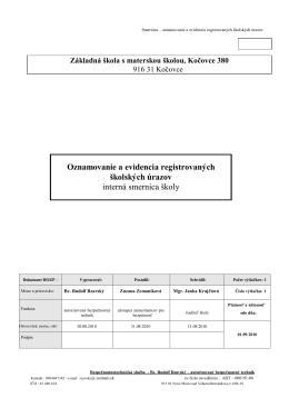 Oznamovanie a evidencia registrovaných školských úrazov