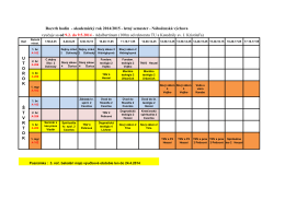 Rozvrh hodín - akademický rok 2014/2015 - letný semester