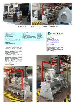 Prekládka čpavkového kompresora SABROE typ SAB 202 SF