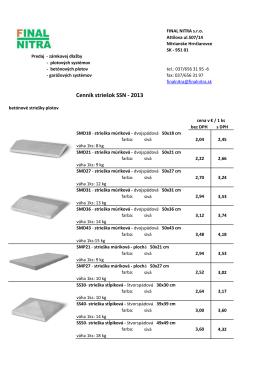 Cenník striešok SSN - 2013