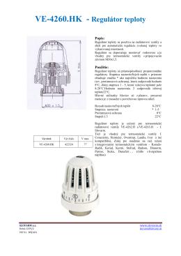VE-4260.HK - Regulátor teploty
