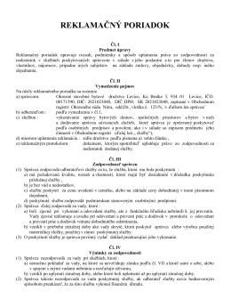 reklamačný poriadok - Okresné stavebné bytové družstvo Levice