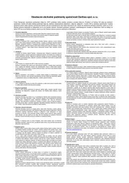 Všeobecné obchodné podmienky spoločnosti Danfoss spol. s.r.o.