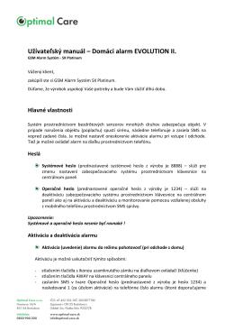 Užívateľský manuál – Domáci alarm EVOLUTION II.