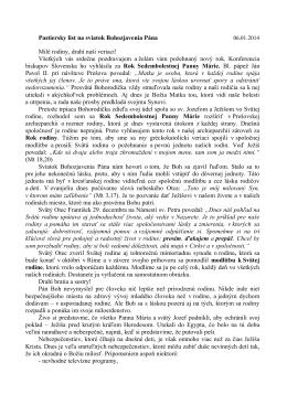 Pastiersky list k vyhláseniu Roka rodiny v Prešovskej archieparchii