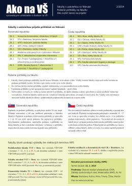 Fakulty s uzávierkou prijatia prihlášok vo februári Slovenská
