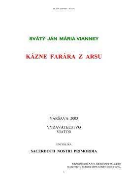 Ján Vianney – kázne - Rímskokatolícka Cirkev, Farnosť Sv. Antona