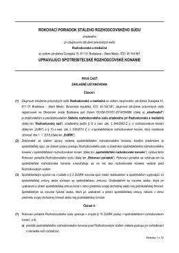 Rokovací poriadok upravujúci spotrebiteľské rozhodcovské konanie