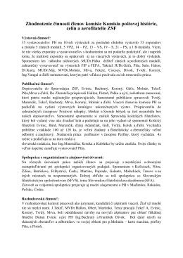 Zhodnotenie činnosti členov komisie Komisia poštovej histórie, celín