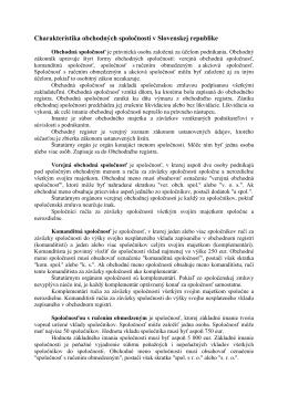 Charakteristika obchodných spoločností v Slovenskej republike