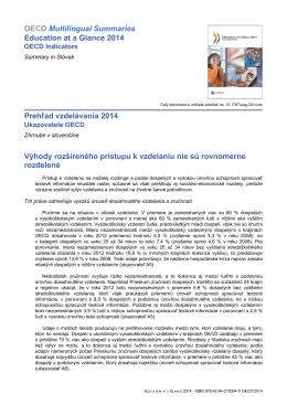 OECD Multilingual Summaries Education at a Glance 2014 Prehľad