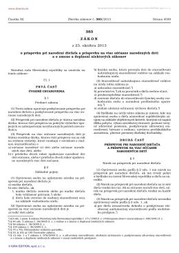 Zákon č. 383/2013 Z. z. o príspevku pri narodení dieťaťa a príspevku
