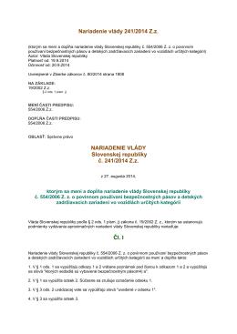Nariadenie Vlády SR č. 241/2014 Z. z.