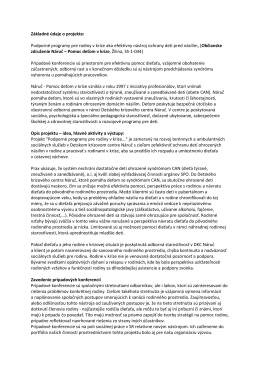 Základné údaje o projekte: Podporné programy pre rodiny v kríze