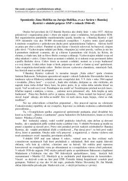 Spomienky na Juraja Holčíka, ev. a.v. farára v Banskej Bystrici