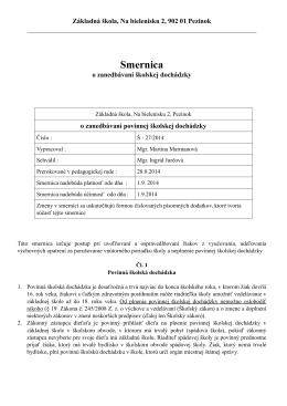Smernica Š - 27/2014 - Zanedbávanie povinnej školskej dochádzky