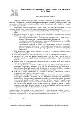 Vyhlásenie rodičov - Gymnázium sv. Františka z Assisi v Žiline
