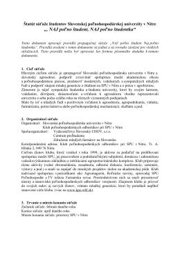 Štatút súťaže - Slovenská poľnohospodárska univerzita v Nitre