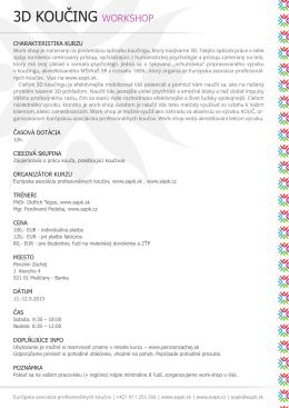 3d kouČing WorksHop - Európska asociácia profesionálnych koučov