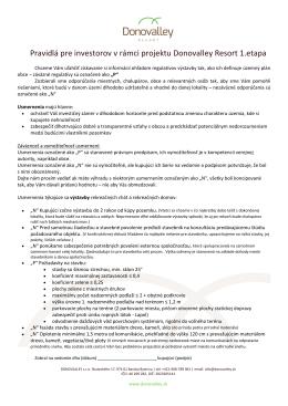 Pravidlá pre investorov v rámci projektu Donovalley Resort 1.etapa