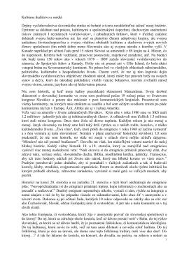Kultúrne dedičstvo a médiá Dejiny vysťahovalectva slovenského
