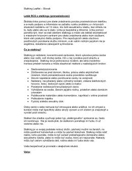 Stalking Leaflet – Slovak Leták RCS o stalkingu (prenasledovaní