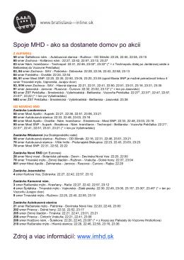 Spoje MHD - ako sa dostanete domov po akcii Zdroj a viac informácií