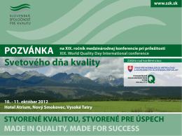POZVÁNKA Svetového dňa kvality - Slovenská spoločnosť pre kvalitu