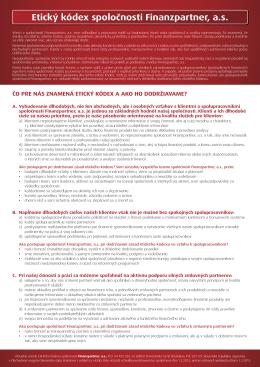 Etický kódex spoločnosti Finanzpartner, a.s.