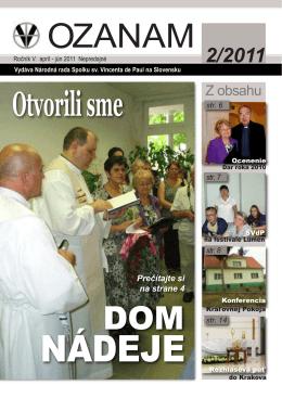 OZANAM 2011-2.indd - Spolok sv. Vincenta de Paul na Slovensku
