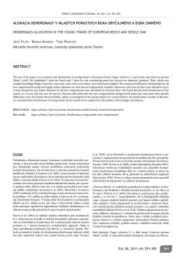 úvod alokácia dendromasy v mladých porastoch buka obyčajného a