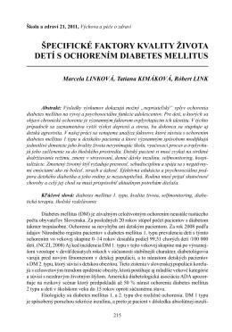 špecifické faktory kvality života detí s ochorením diabetes mellitus