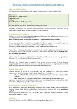 Podmienky účasti na vzdelávacích akciách organizovaných OZ Arte