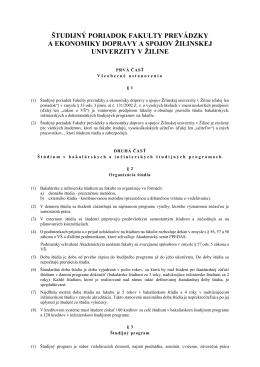 Študijného poriadku Fakulty prevádzky a ekonomiky dpravy a spojov