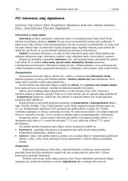 P21. Informácia, údaj, digitalizácia.