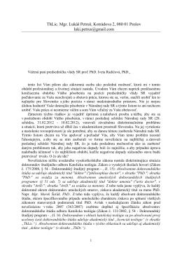 ThLic. Mgr. Lukáš Petruš, Kotrádova 2, 080 01 Prešov luki.petrus