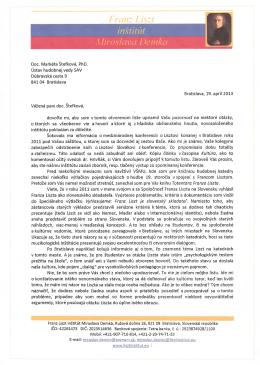 OL Ústavu hudobnej vedy SAV - Franz Liszt institut Miroslava Demka