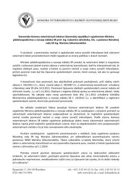 Stanovisko Komory veterinárnych lekárov Slovenskej republiky k